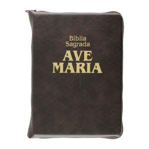 biblia-sagrada-ave-maria-media-capa-ziper-marrom