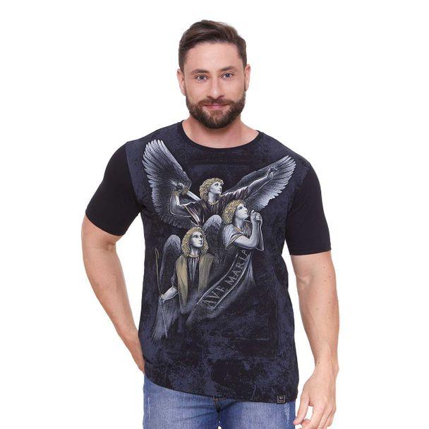 camiseta-tres-arcanjos-preto-frente