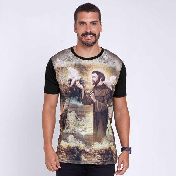 camiseta-sao-francisco-de-assis-preto-frente