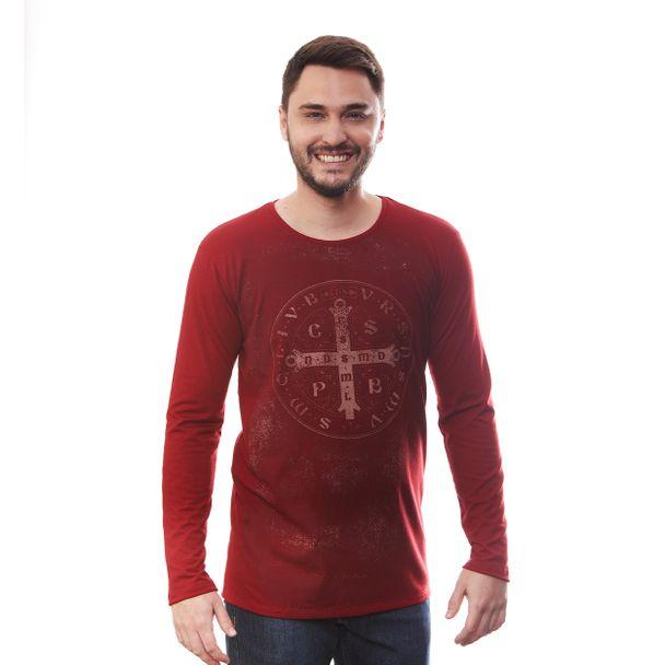 camiseta-medalha-de-sao-bento-manga-longa-vermelha-frente